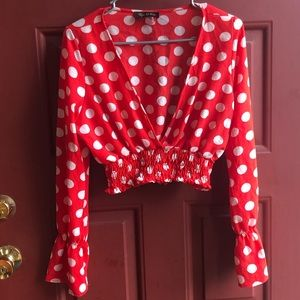 Tops - Mod Polka Dotted Blouse